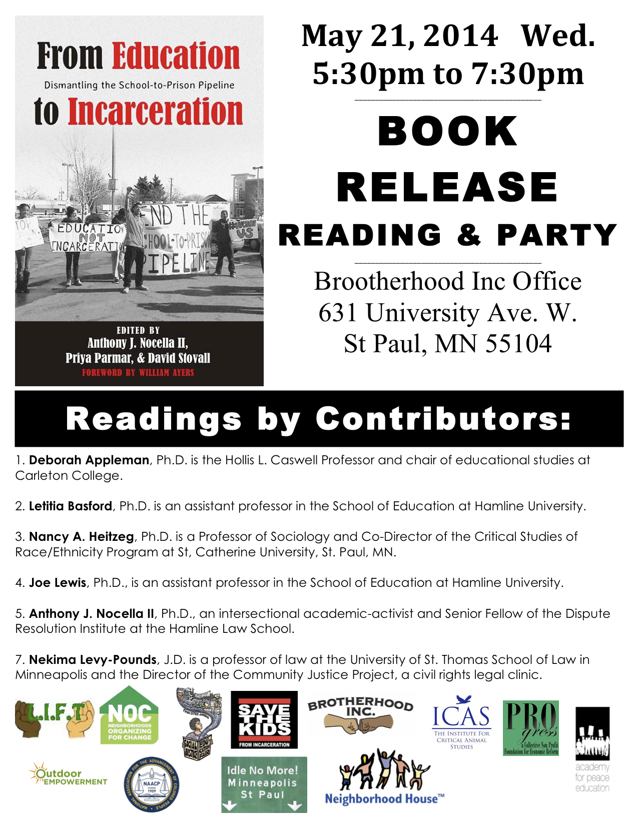 May 21 Twin Cities – Book Release Party and Reading