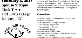 Feb. 2 – Rally For Disability Rights At Fort Lewis College, Durango, CO