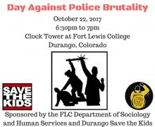 10/22/17 6:30pm to 7pm Durango, CO – Vigil Against Police Brutality