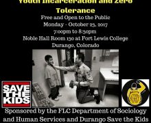 10/23/2017 7:00pm-8:30pm Durango, CO – Panel Discussion on Alternatives to Incarceration of Youth