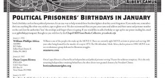 January Political Prisoners' Birthdays and Addresses