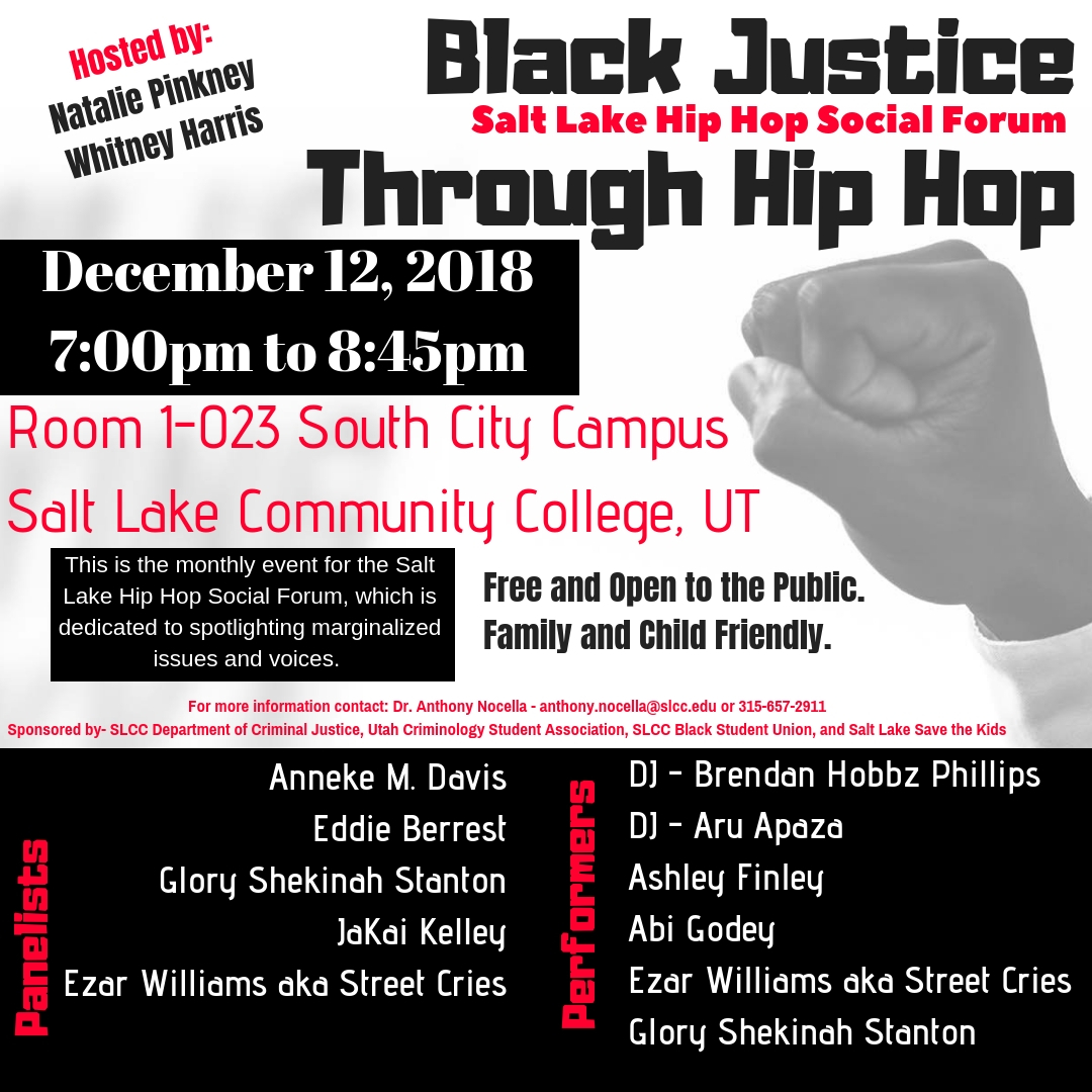 Dec. 12, 2018 – Salt Lake, UT – Black Justice Through Hip Hop
