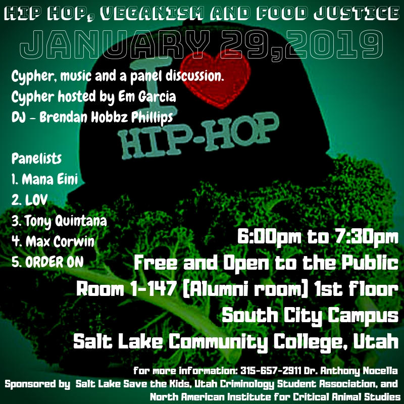 Salt Lake, Utah: January 29, 2019 – Hip Hop, Veganism, and Food Justice